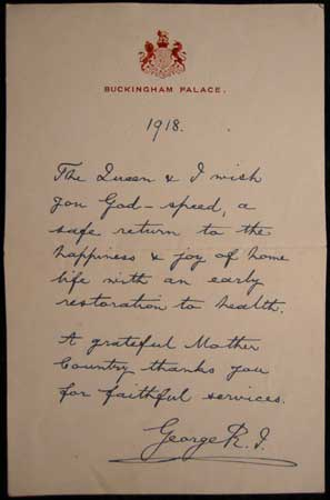 WW1 Letter from King George V